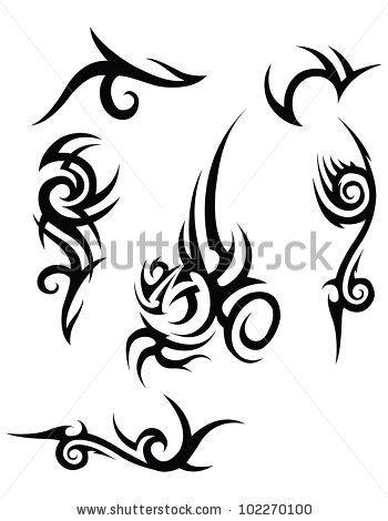 Set Of 6 Black Tribal Tattoo Designs On A White Background Stock Vector Tribal Tattoos Tribal Art Tattoos Hawaiian Tattoo