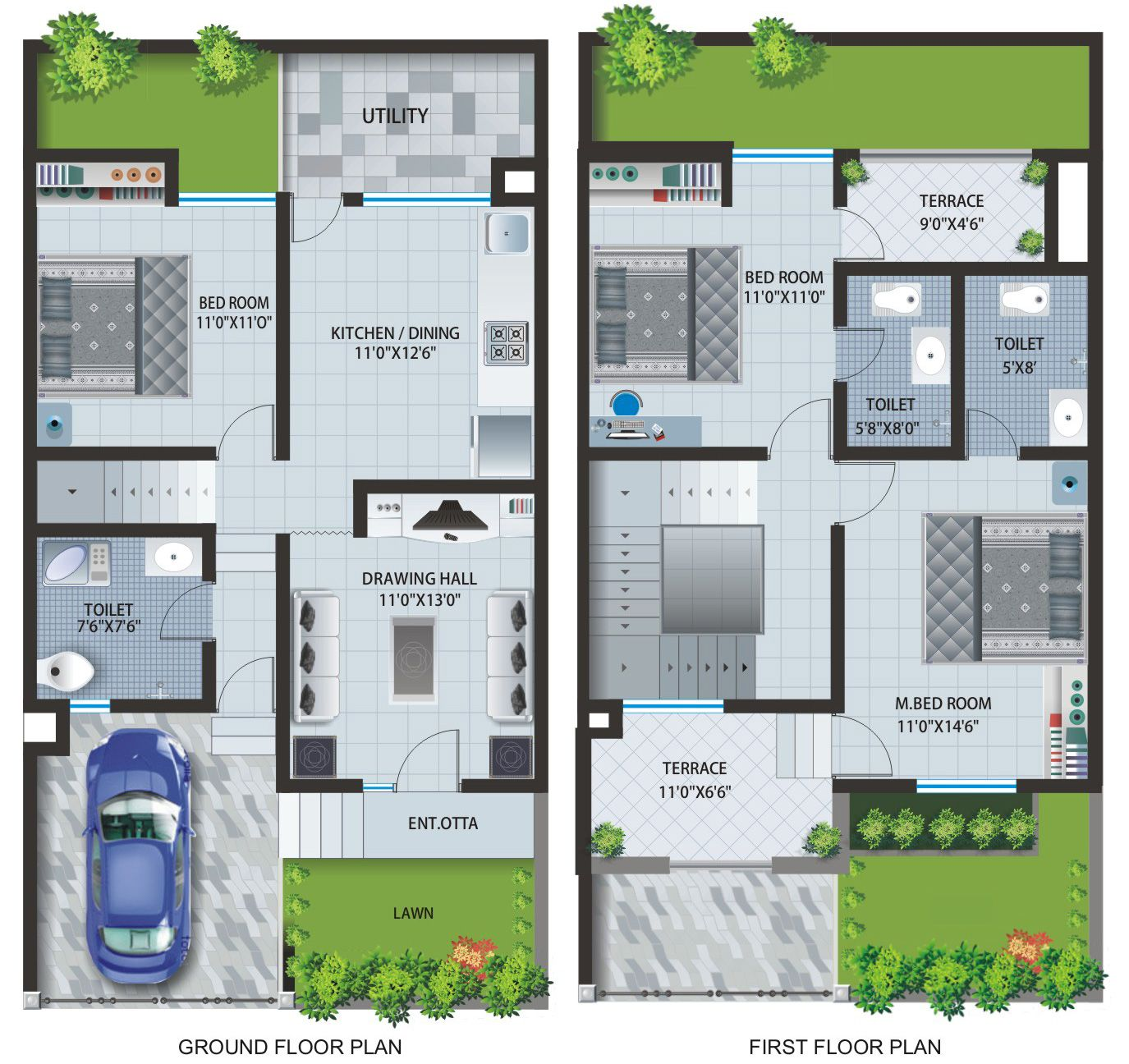 Floor plans of apartments row houses at caroline baner for Small bungalow house plans in india