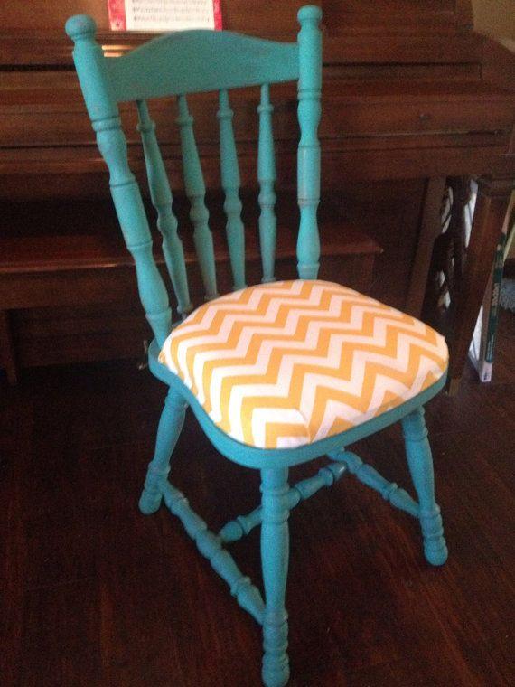 Turquoise U0026 Yellow Chevron Chair By Shekinah Restorations