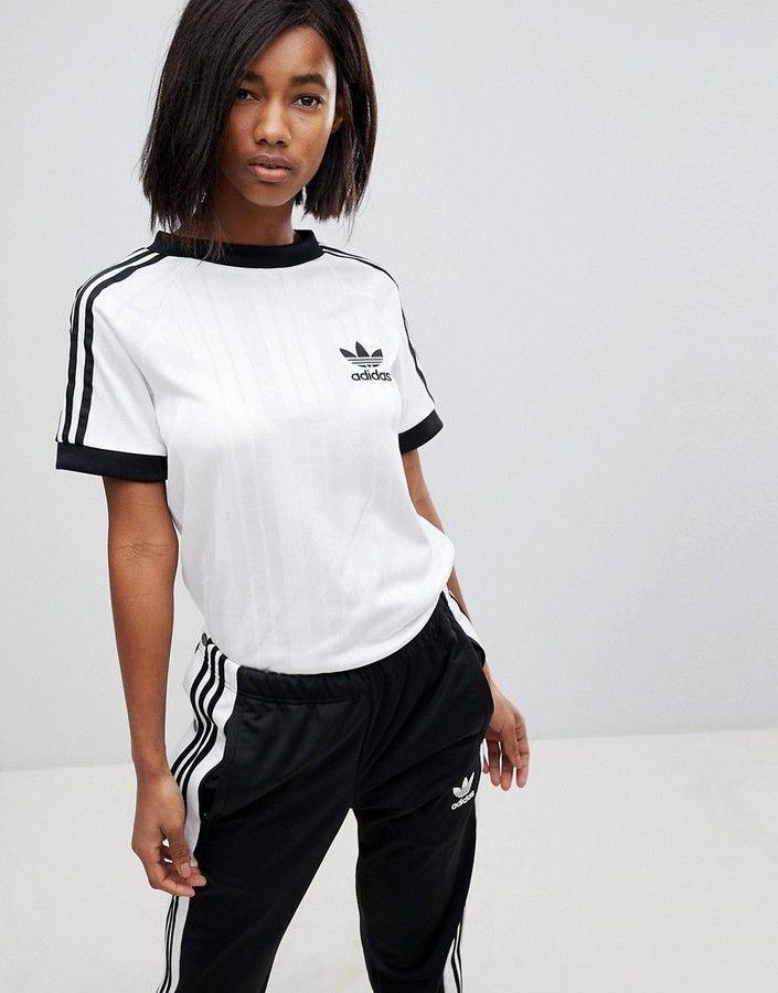 adidas Three Stripe Polyknit T-Shirt In