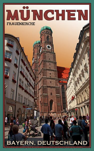 munich frauenkirche postcard munich vintage posters and travel posters. Black Bedroom Furniture Sets. Home Design Ideas