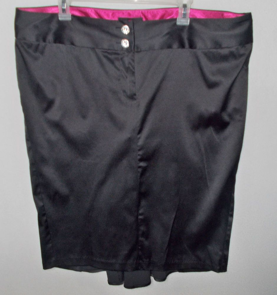 Torrid Corset lacing back skirt 18 2X Black satin sateen shiny ...