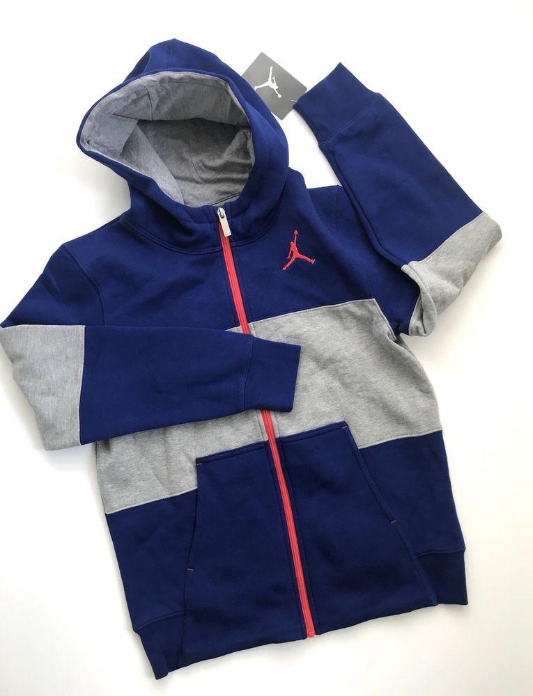 f75812e674e6 NWT Nike Air Jordan Boys Jacket Hoodie Full Zip Size Large Jumpman New!   fashion