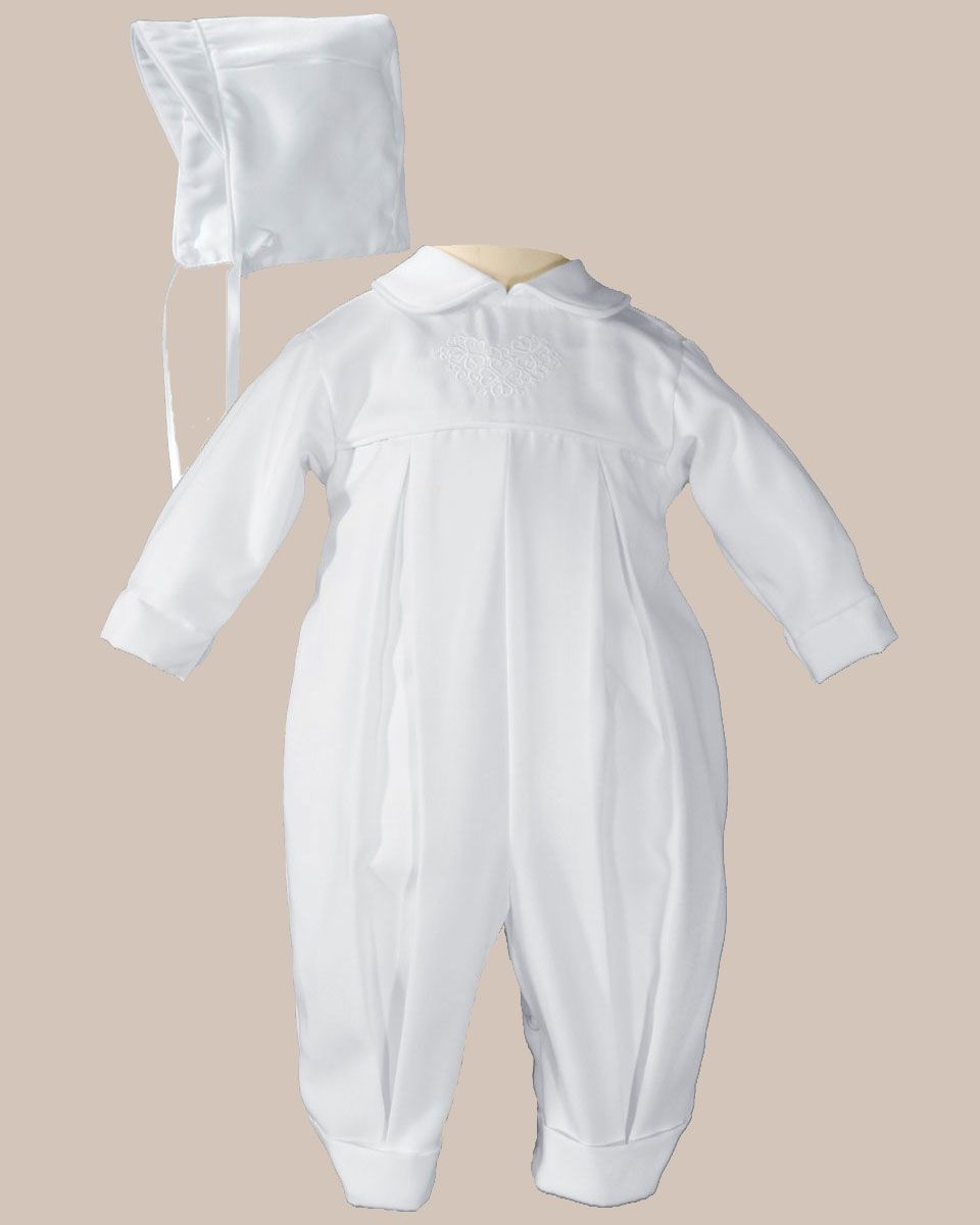 a5f5d5cf2 Boys Pleated Christening Baptism Coverall with Embroidered Shamrock Cluster  and Hat