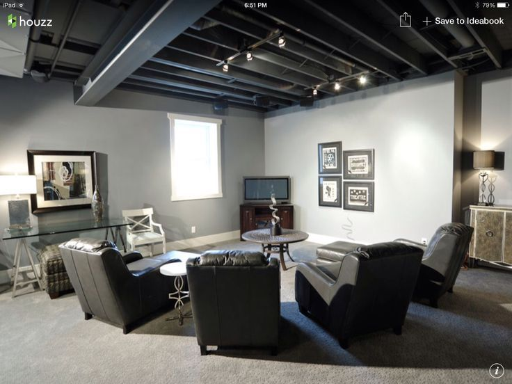 Exposed Basement Ceiling Painted Black