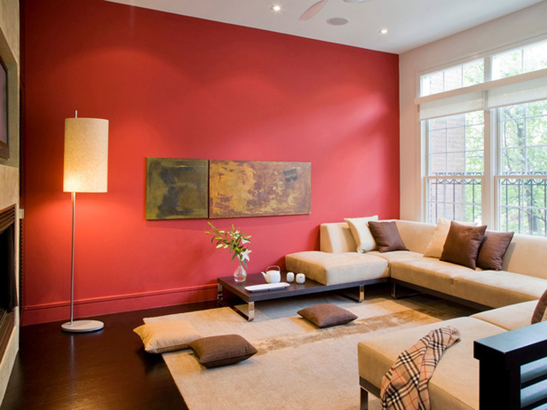 Red Accent Wall Used In Living Area