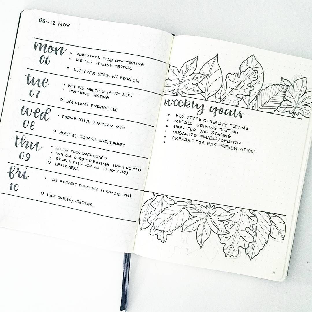 Bullet journal weekly layout cursive date cursive header plant