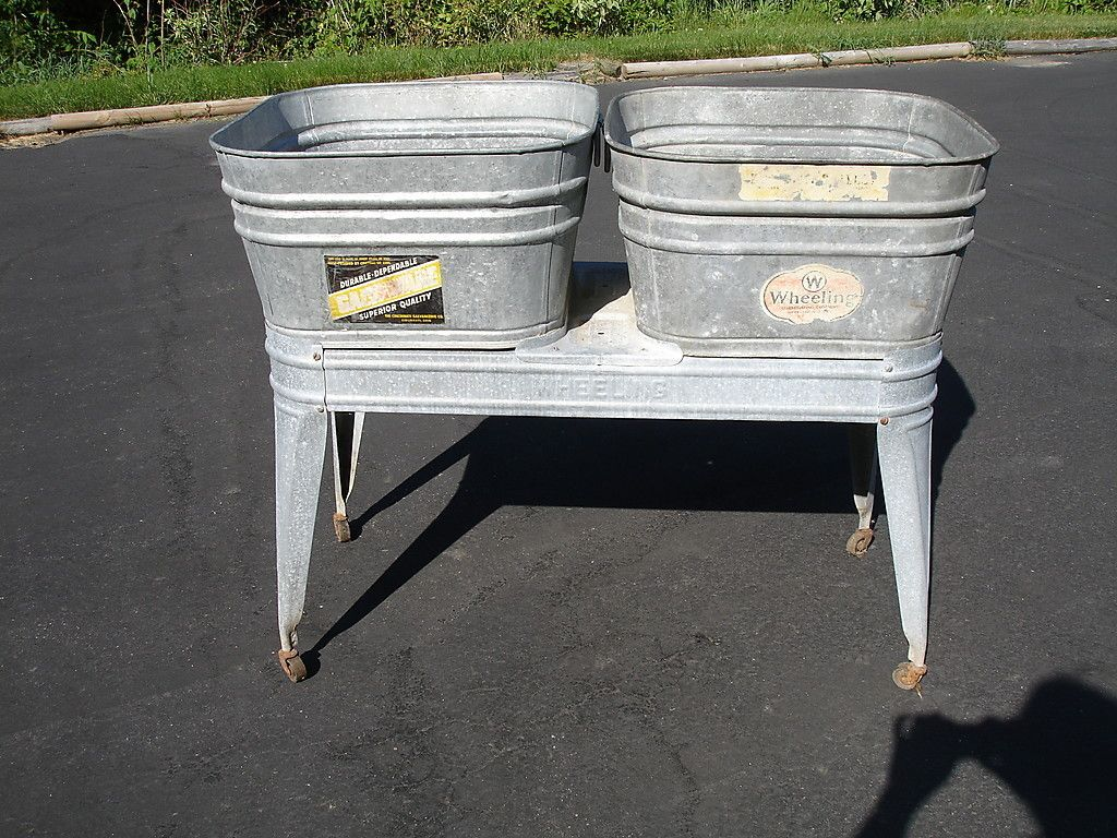 Vintage Wheeling Double Galvanized Wash Tub Stand Planter Galvanized Wash Tub Wash Tubs Metal Wash Tub