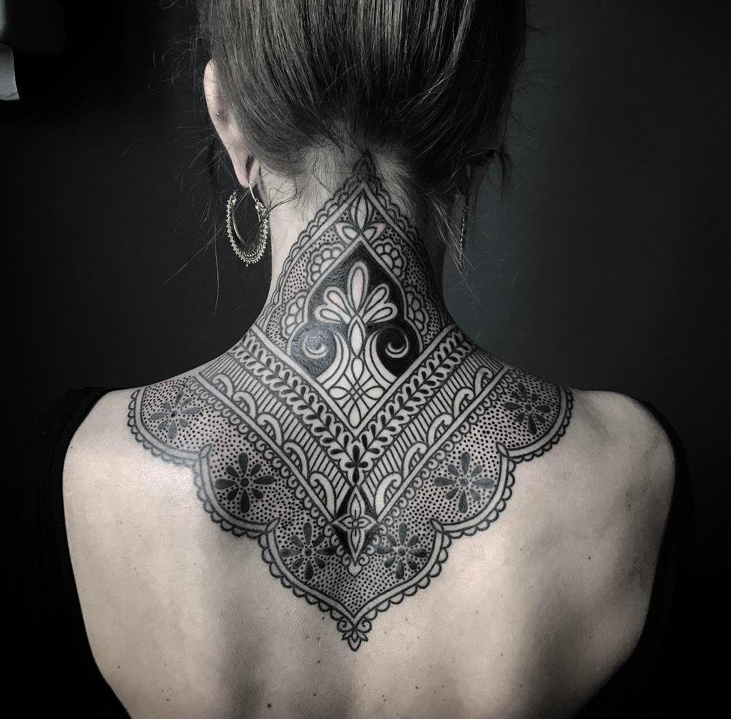 Ornamental Henna Neck Tattoo Tattoos Henna Neck Nape Tattoo