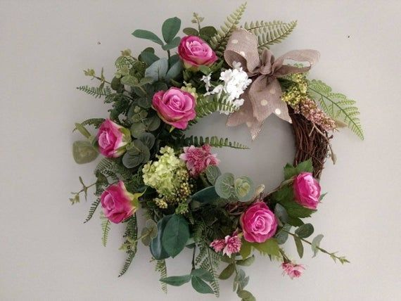 Photo of Front door wreath, pink roses, green florals,wired follage, beautiful wired ribbon, designer Wreath, small grapevine wreath, bespoke design