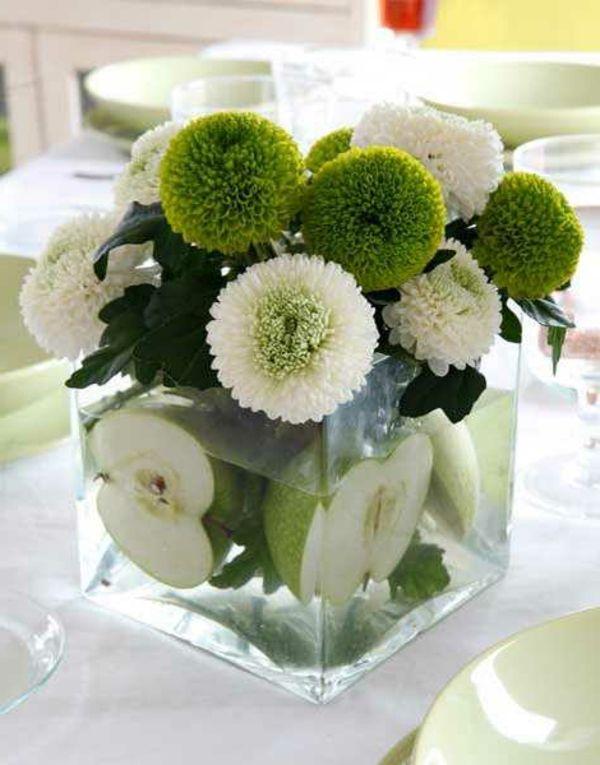 Tischdeko Grune Apfel Und Blumen Im Glas Geburtstagadeko