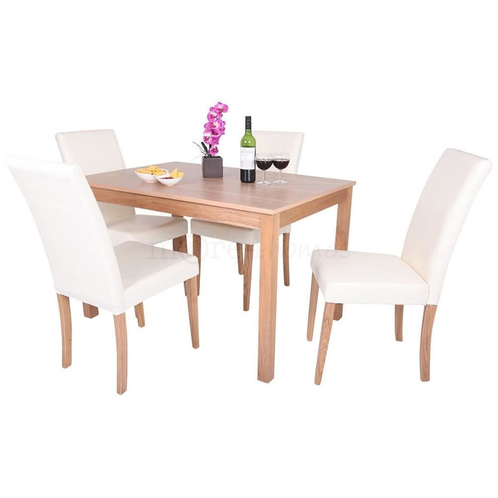 Pleasing Oakden Oak Veneer Dining Table And 4 X Cream Leather High Gamerscity Chair Design For Home Gamerscityorg