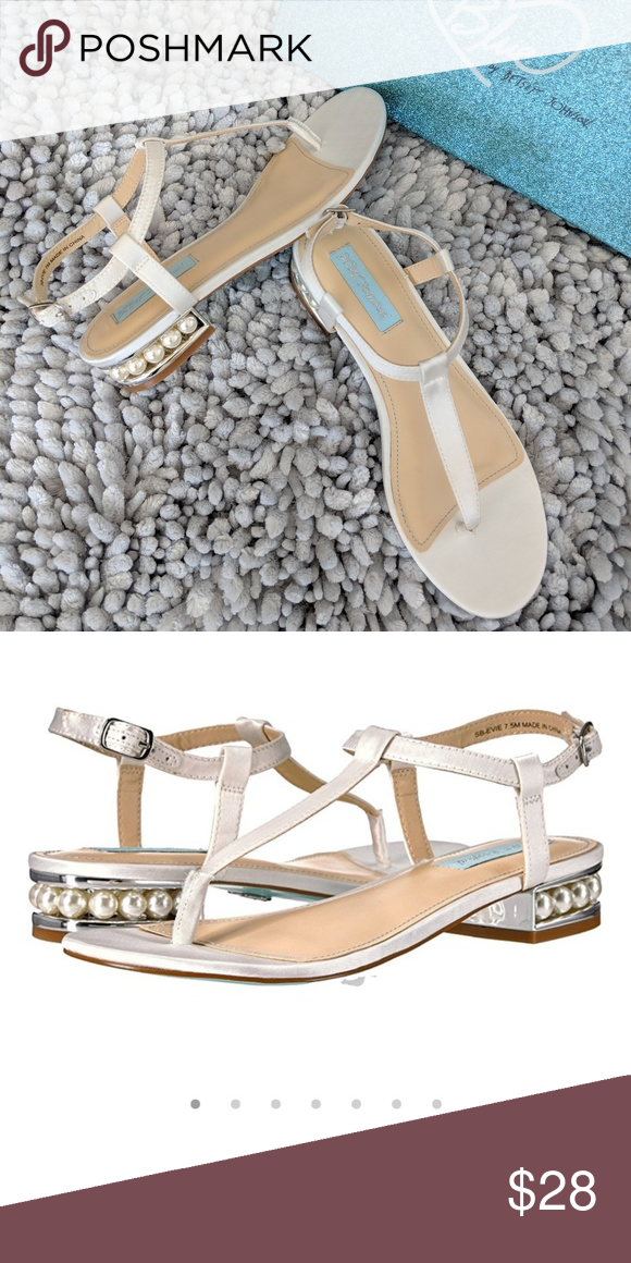 c52558e8823669 Beach Wedding Sandals Blue by Betsey Johnson Cute sandals perfect for a beach  wedding. Blue by Betsey Johnson SB-Evie Ivory Satin with pearl accents on  the ...