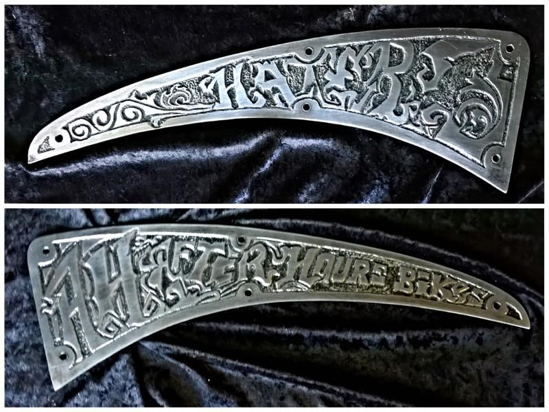 Metal Engraved by Hand Side plates for a motorcycle gas tank