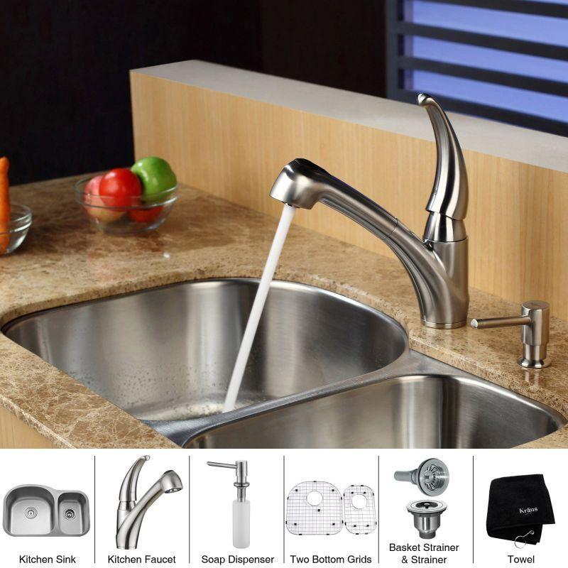 """Kraus KBU23-KPF2110-SD20 Kitchen Combo - 31-1/2"""" Undermount 60/40 Double Bowl 16 Stainless Steel Fixture Kitchen Sink Combination"""