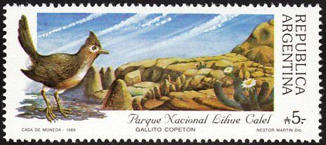 Argentina 1989 - El Gallito Copetón,es nativa de América del Sur. Se encuentra en Argentina, Bolivia y Paraguay