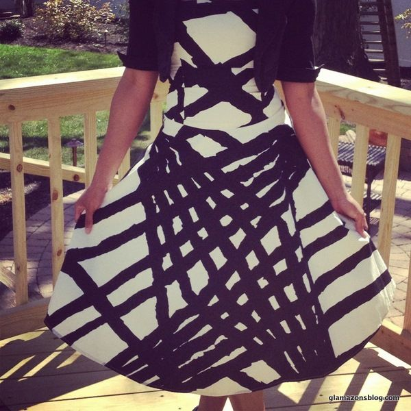 Black and white flared #Anthropologie dress