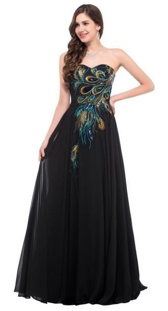 Grace Karin Strapless Peacock Evening Dress Long Chiffon Embroidery Fo – US  MART NEW YORK 84d5935a0