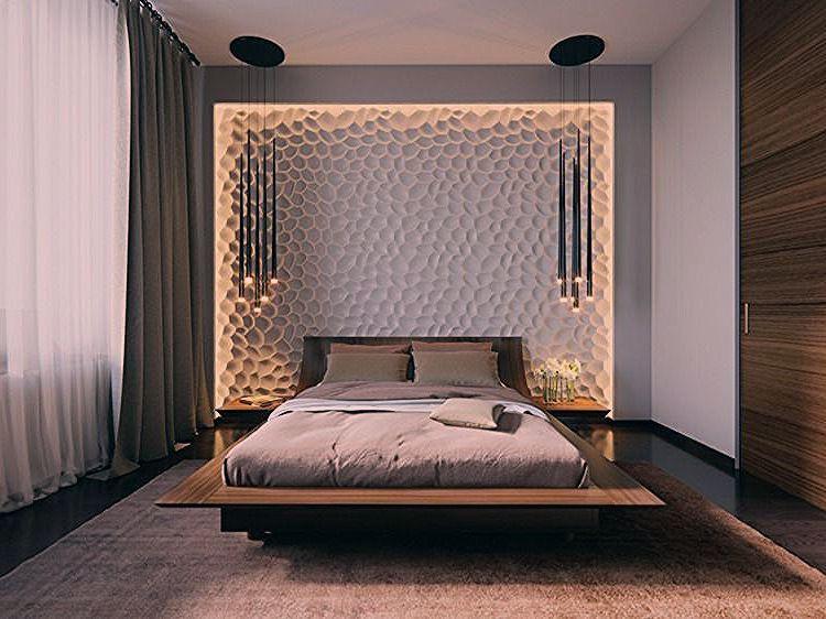 Beleuchtung Im Schlafzimmer Mit 3d Wandpaneele Und Pendelleuchten Von Svetlana Nezus Elegant Bedroom Luxurious Bedrooms Modern Elegant Bedroom