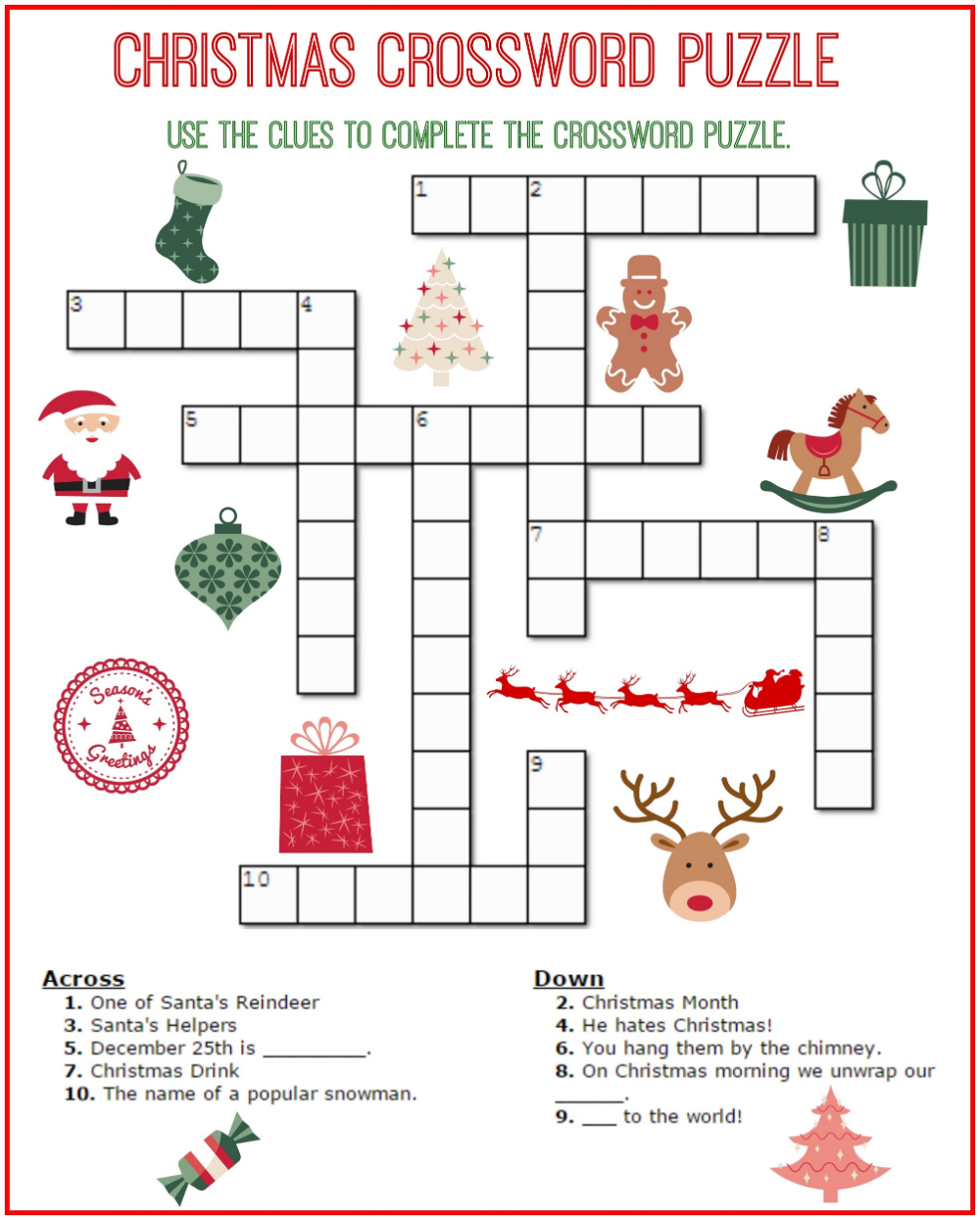 Easy Kids Crossword Puzzles Christmas crossword puzzles