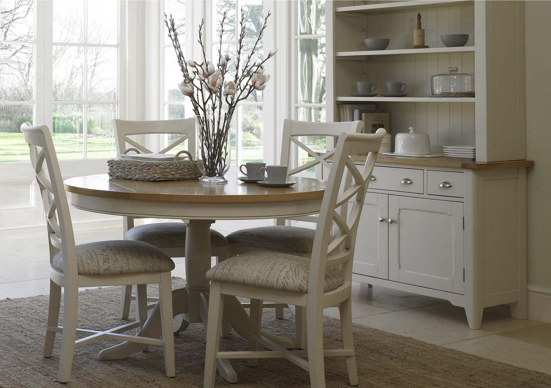 Arles Round Extending Dining Table Kitchen Table Settings Round