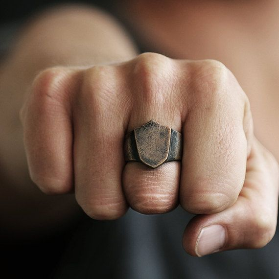 Rustic Signet Ring Man Personalize Shield Rings Mens Carpe
