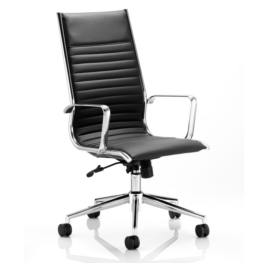 This Eames Styles Executive Chair In Black Comes With A High Ribbed Back Leather Tilt And Height Adjustments For An Altogether Elegant