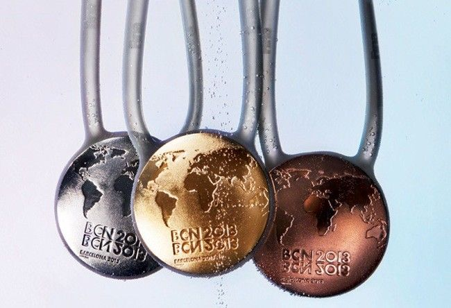 Original swimming medals for Barcelona 2013