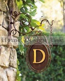 One Sided IRON SCROLL MONOGRAM Initial Hanging Wall Plaque Bracket Personalized  Outdoor, Http:/