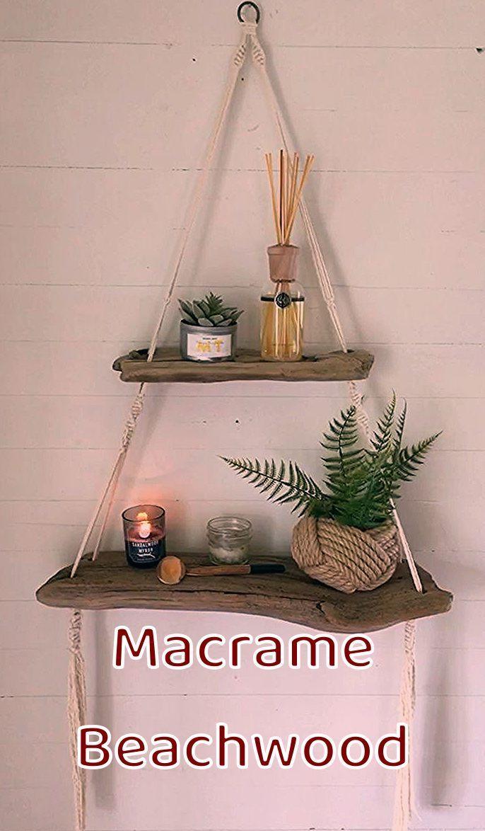 #macrame #macrameart #macrameknots #macrameprojects #beachwood #crafts #macramewallhanging #beachart #shelves #shelving #boho #homedecor #decor