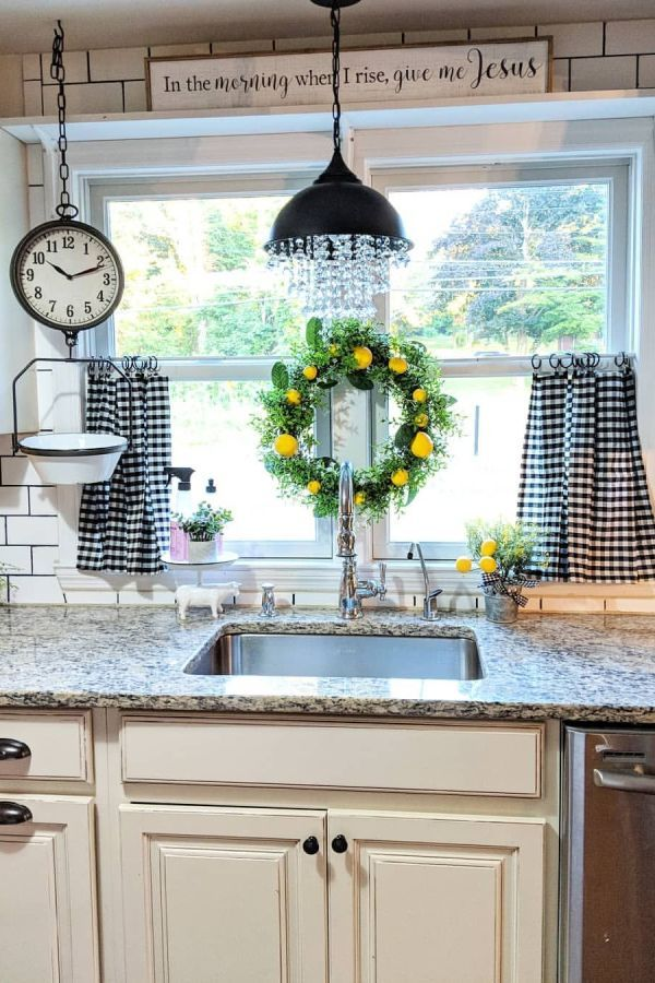 farmhouse kitchen curtains decor ideas
