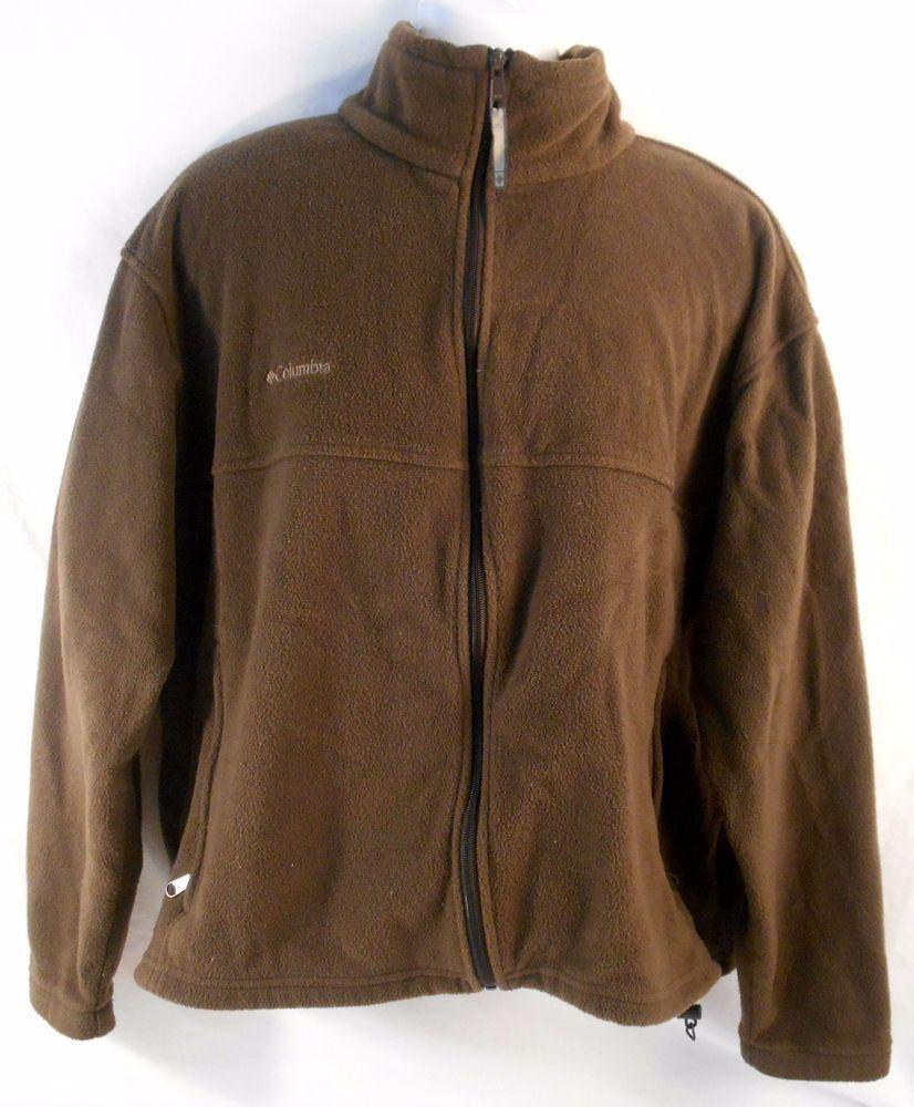 COLUMBIA Mens Fleece Jacket Full Zip Size XL Sportswear Brown ...