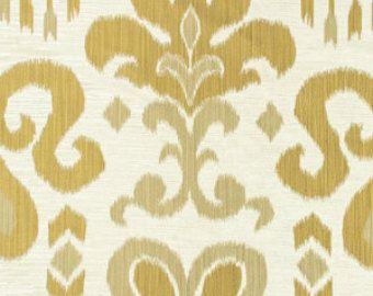 Gold Upholstery Fabric Ikat Curtain Fabric By The Yard Gold