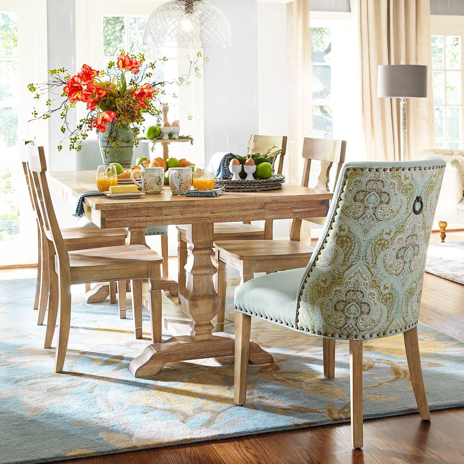Aqua Medallion Dining Chair With Natural Whitewash Wood Comedor