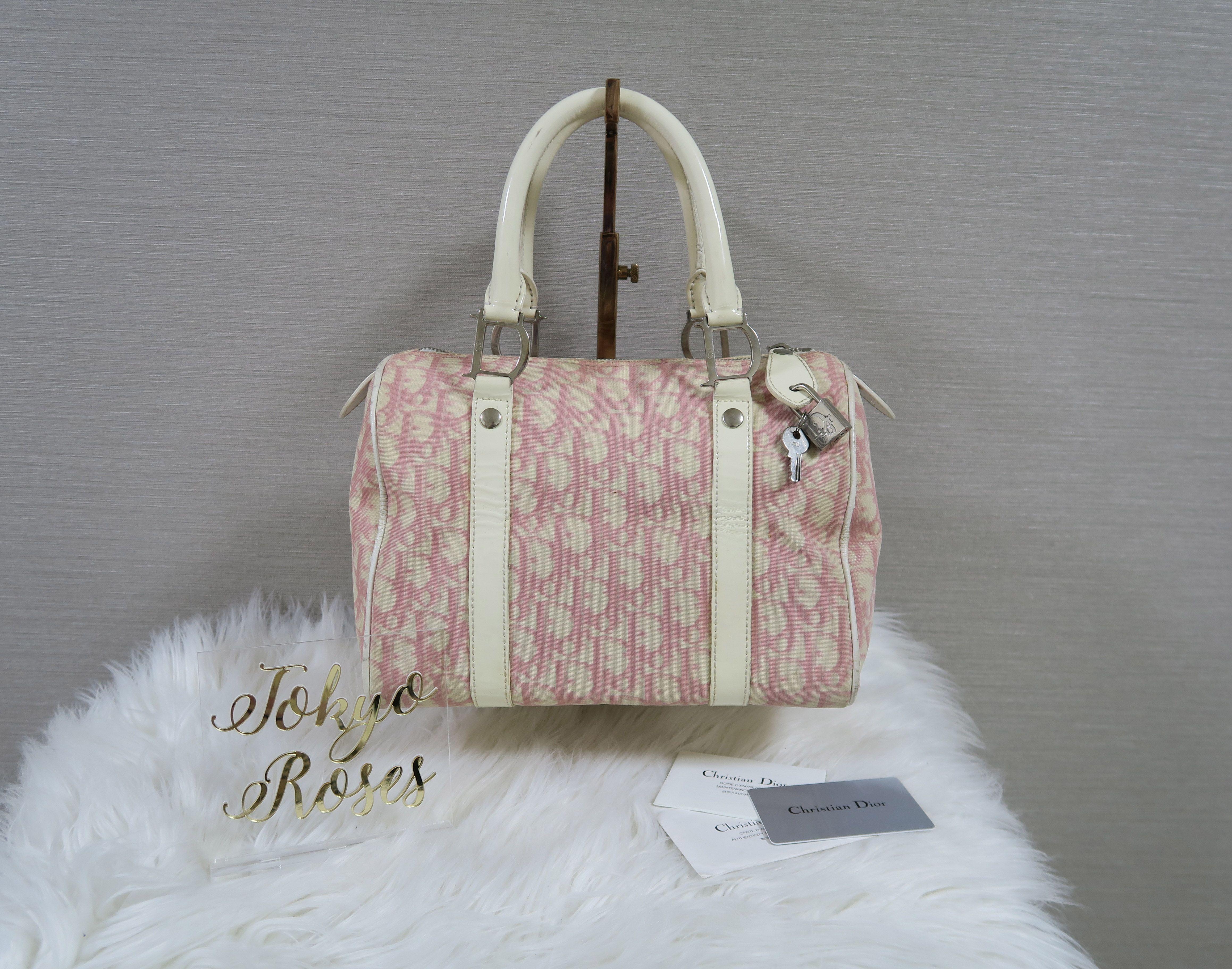 01ec7e02a105 Christian Dior Pink Trotter Logo Print Boston Bag Handbag