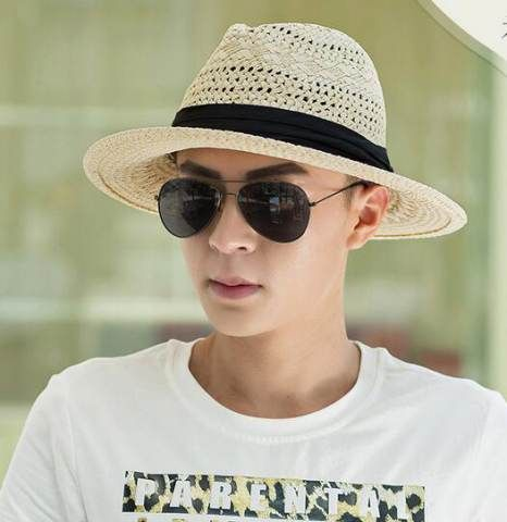 ee15935a43a Mens straw Panama hat for summer hatband decoration
