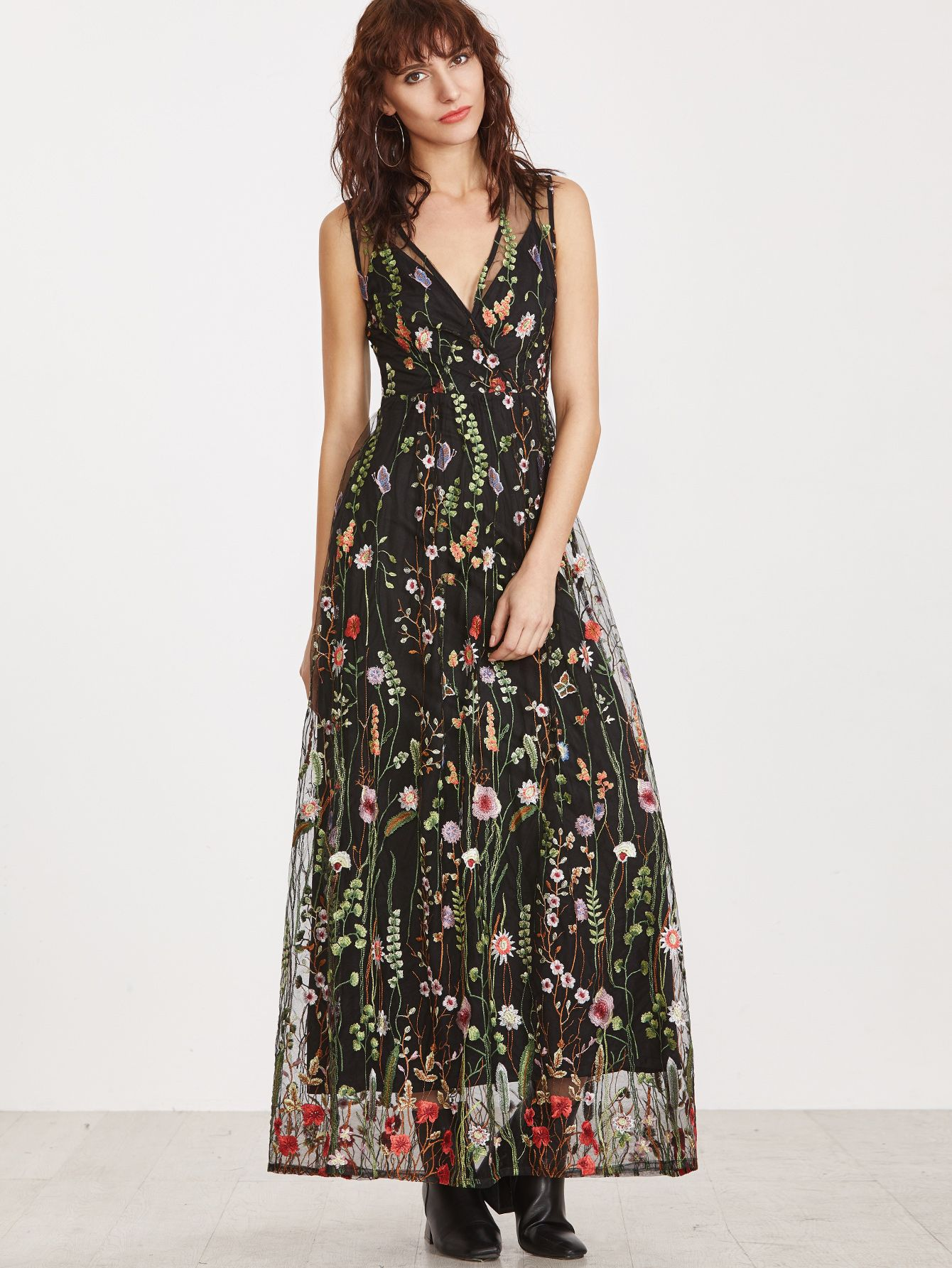50e33ad37e1 Shop Black Surplice Front Embroidered Mesh Overlay Maxi Dress online. SheIn  offers Black Surplice Front Embroidered Mesh Overlay Maxi Dress   more to  fit ...