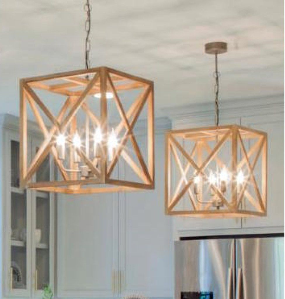 This Square Wood And Metal Chandelier Will Add A Contemporary Flair To Your Dining Room Living Or Kitchen Measuring Inch Wide X High