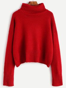 f37d3c0a5e Burgundy Turtleneck Drop Shoulder Sweater