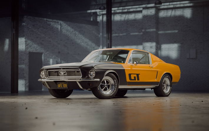 Download Wallpapers Ford Mustang 1968 Gt Fastback Afe 109 Retro Sports Car Tuning Classic Cars Ford Besthqwallpapers Com Ford Mustang Ford Mustang Gt Ford Classic Cars