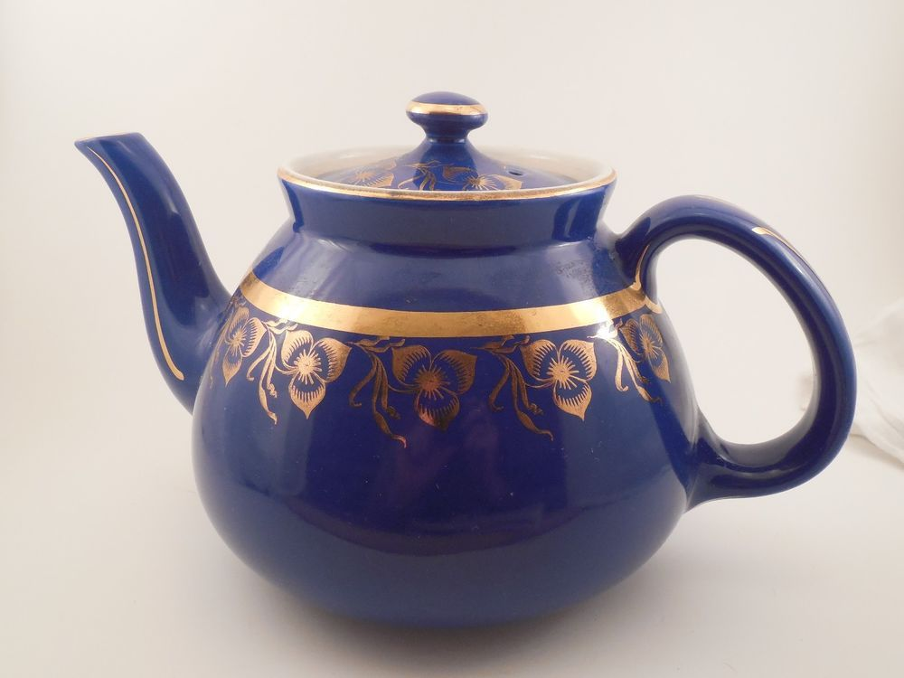 Vintage Hall China 036 Dark Blue And Gold Floral Print 12 Cup Large Teapot Hall Tea Pots Antique Collection Floral Prints