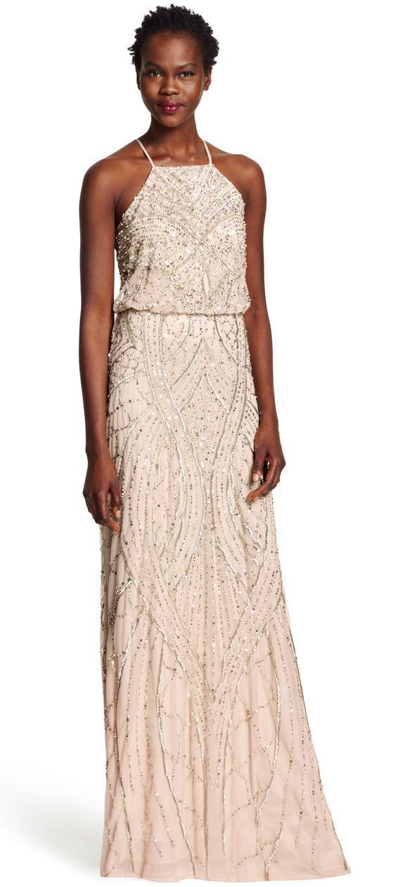 Beaded Blouson Halter Gown | Brautjungfernkleider und Glitzer