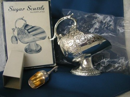 Ornate Silver Plated Sugar Scuttle With Scoop Ornate