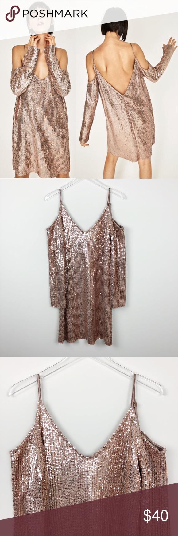Zara sequin cut out shoulder dress rose gold l my posh closet