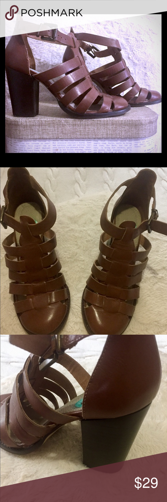 Heels shoes Beautiful and casual shoes, upper leather. Lining leather, brown color. made India. Use 2/3 times. Look like new. Shoes Heels