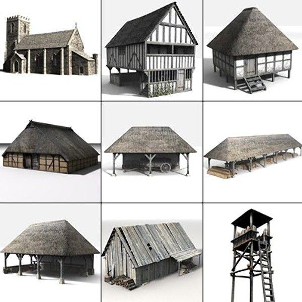 3d Medieval Village Set Medieval Medieval Houses Watch Tower