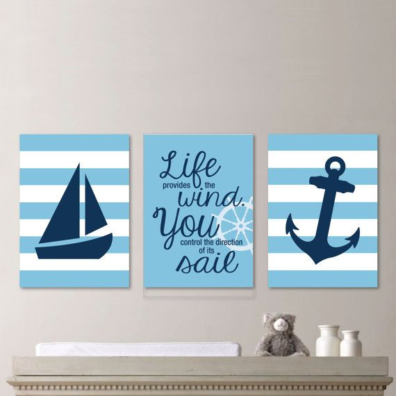Baby Boy Nursery Art - Nautical Nursery Art Nautical Nursery Decor Nautical Bedroom - Light Blue and Navy Blue - You Pick the Size (NS-584)