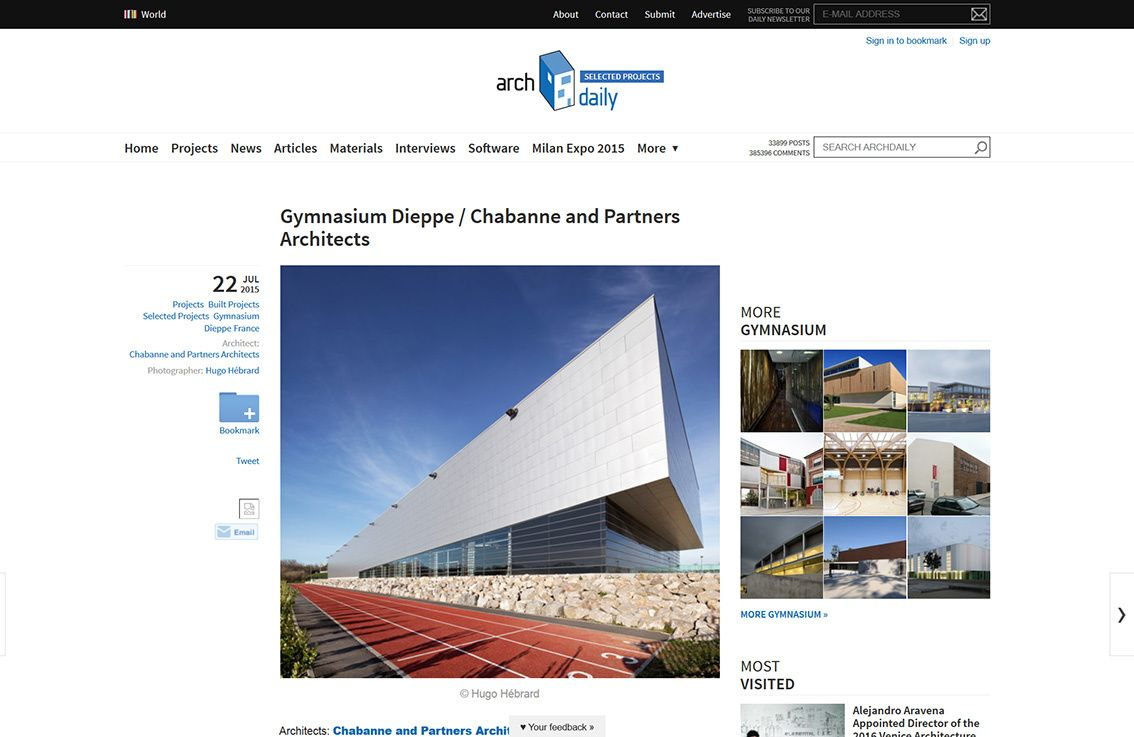 Archdaily parution, Gymnasium public facilities Dieppe, Chabanne and Partners Architects, Gymnase de Dieppe, Chabanne et Partenaires Architectes, gymnase et stade
