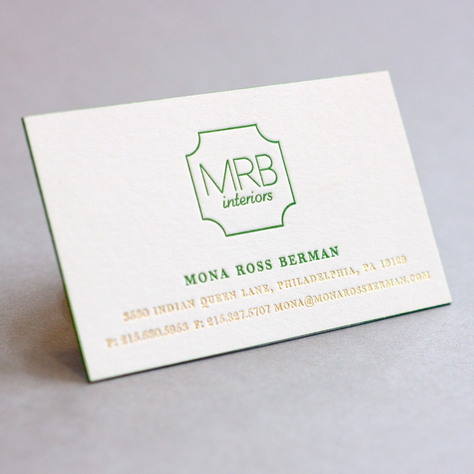 Letterpress business cards with gold foil stamping and edge ...