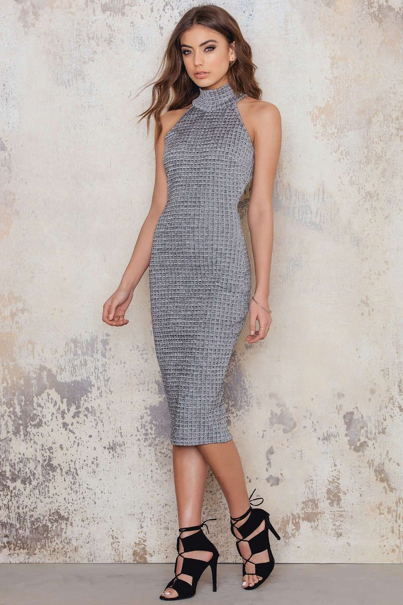 26bb54690a33 Ribbed High Neck Sleeveless Midi Dress